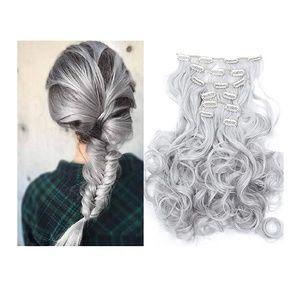 Silver Gray Full Head Clip in Extension